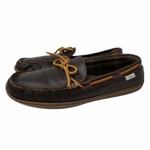 LL Bean Flannel Lined Leather Slip On Slippers 13